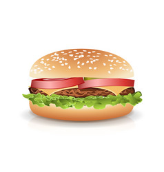 Fast food realistic popular burger photo vector
