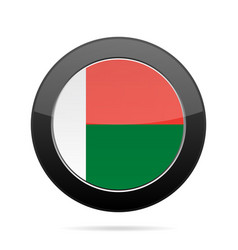 Flag of madagascar shiny black round button vector