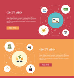 flat icons financing help coin and other vector image