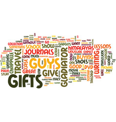 Gifts for guys text background word cloud concept vector