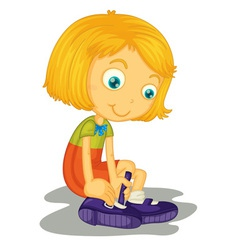 Girl buckles shoes vector image