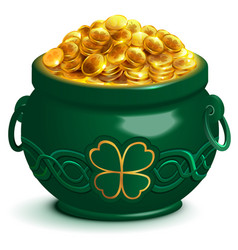 green full pot with gold coins pot with four leaf vector image vector image