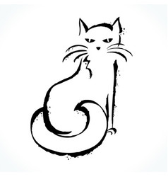 hand drawn cat isolated on white background vector image