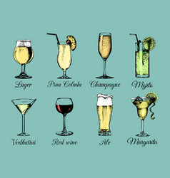 hand sketched alcoholic beverages and cocktails vector image vector image
