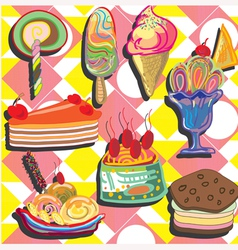 ice-cream on pink yellow background vector image vector image