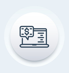 Internet banking icon in linear style vector