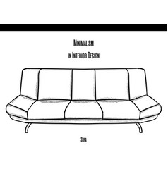 low sofa with soft armrests in a contour on a vector image vector image