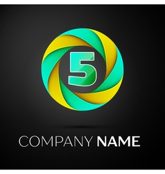 Number five logo symbol in the colorful circle on vector image