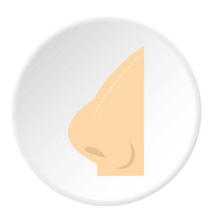 Plastic surgery of nose icon circle vector