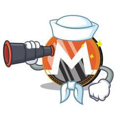 Sailor with binocular monero coin character vector