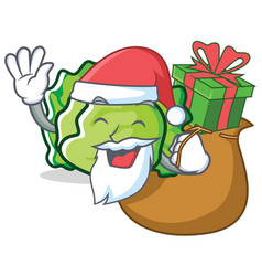 Santa with gift lettuce character mascot style vector