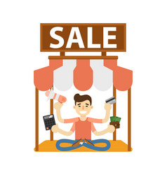 Seller man on marketplace icon vector