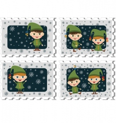 stamps with elves vector image