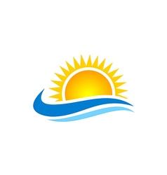 sun shine beach ocean water logo vector image