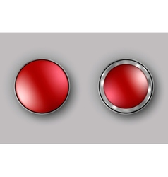 two red buttons realistic vector image vector image