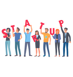 young people holding capital letters of startup vector image vector image