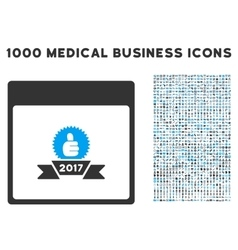2017 award ribbon calendar page icon with 1000 vector