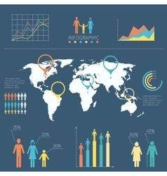 Infographic with people icons and charts vector