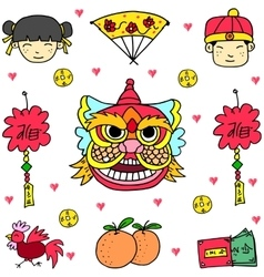 Doodle of element chinese celebration vector