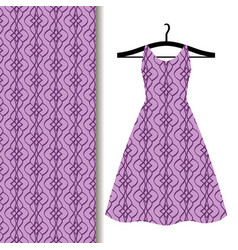 dress fabric with purple geometric pattern vector image