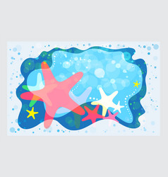 Summer template starfish on the beach background vector
