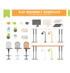 Flat workplace furniture set vector