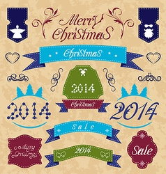 Christmas set - labels ribbons and other vector