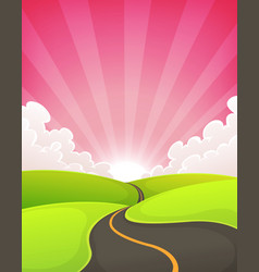 road snaking inside dawn landscape vector image