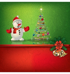 Abstract grunge red green background with snowman vector
