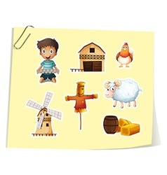 Farm set with boy and farm objects vector