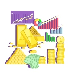 Invest in gold concept icon flat design vector
