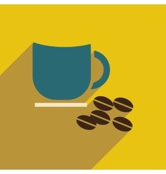 Flat icon with long shadow cup coffee beans vector