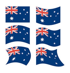 Flag of australia set of flags in different forms vector