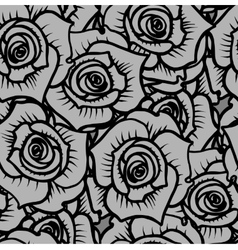 Seamless pattern of gray graphic quality roses vector
