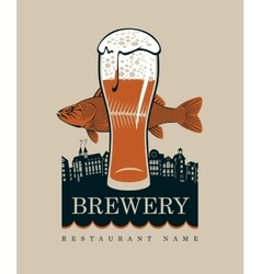 glass of beer and a fish vector image