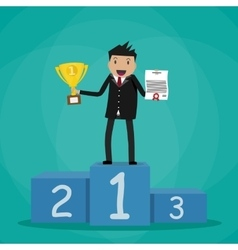 Businessman winner standin on podium vector image