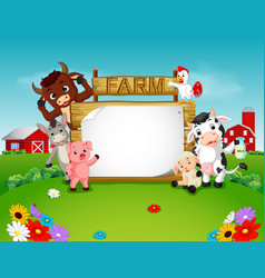 collection farm animals with wooden sign vector image vector image