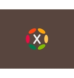 Color letter x logo icon design hub frame vector