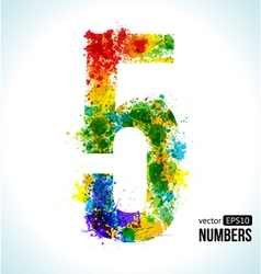 Color paint splashes Gradient Number 5 vector image vector image