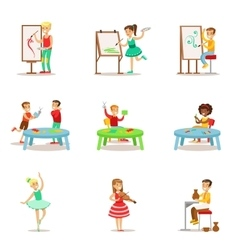 Creative children practicing different arts and vector