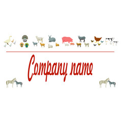 farm animals silhouettes animals farm logo vector image