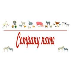 farm animals silhouettes animals farm logo vector image vector image