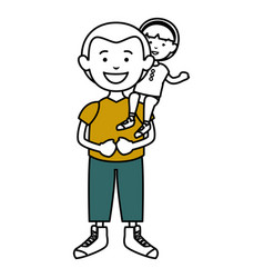 father with daughter characters vector image