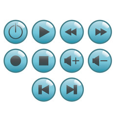 flat black button icon set vector image