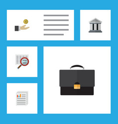 Flat icon finance set of portfolio document scan vector