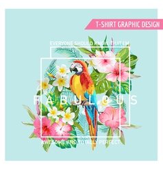 Floral Graphic Design - Tropical Flowers and Bird vector image vector image
