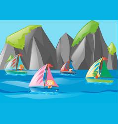 four kids sailing at sea vector image