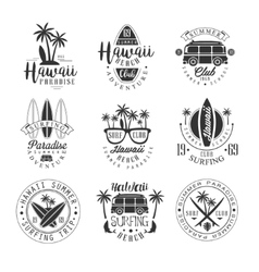 Hawaiian Beach Surfing Vacation Black And White vector image vector image
