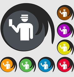 Inspector icon sign symbol on eight colored vector