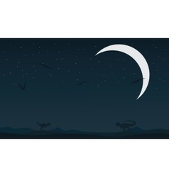 Landscape dinosaur at night silhouettes vector
